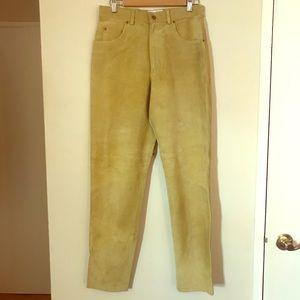 Straight Leg Light Green Suede Pants